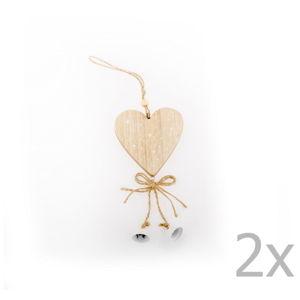 Sada 2 závěsných dekorací ve tvaru srdce Dakls Bethany