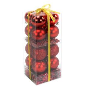 Set 16 vánočních ozdob a girlandy v červené barvě Unimasa Brightness