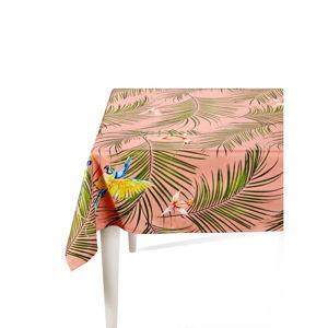 Růžový ubrus s palmami The Mia Parrot, 150 x 150 cm