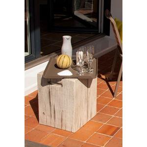 Bílý zahradní odkládací stolek Ezeis Ecotop, 35 x 35 cm