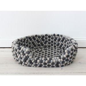 Tmavě šedý kuličkový vlněný pelíšek pro domácí zvířata Wooldot Ball Pet Basket, 60 x 40 cm