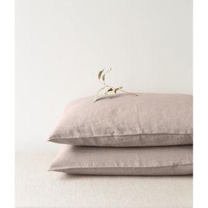 Světle hnědý lněný polštář Linen Tales, 70 x 90 cm