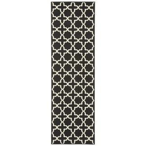Černý běhoun s bílými detaily Hanse Home Joanne, 80x300cm