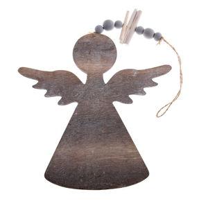 Dřevěná závěsná ozdoba ve tvaru anděla Dakls, délka 20,5 cm