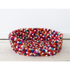 Tmavě červený kuličkový vlněný pelíšek pro domácí zvířata Wooldot Ball Pet Basket, 60 x 40 cm