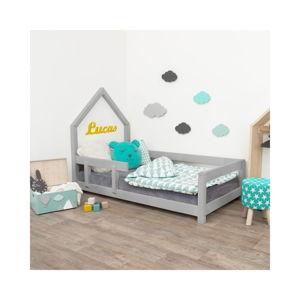 Šedá dětská postel domeček s levou bočnicí Benlemi Poppi, 90 x 160 cm