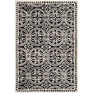 Vlněný koberec Marina Black, 121x182 cm