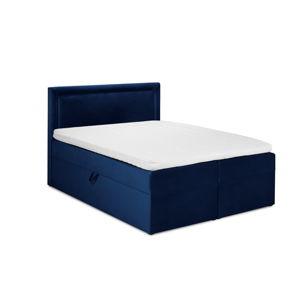 Tmavě modrá sametová dvoulůžková postel Mazzini Beds Yucca,160x200cm