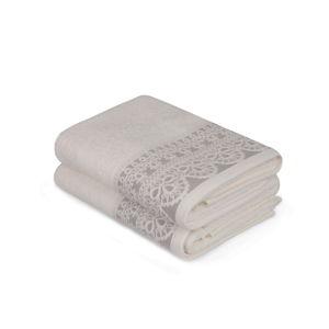 Sada dvou bílých ručníků s béžovým detailem Romantica, 90x50cm
