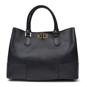 Černá kožená kabelka Anna Luchini, 26.5 x 38 cm