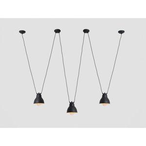 Černé trojité závěsné svítidlo s detailem ve zlaté barvě Custom Form Coben Hangman