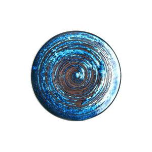 Modrý keramický talíř MIJ Copper Swirl, ø29 cm