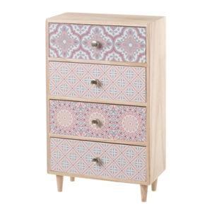 Růžová skříňka se 4 šuplíky dekorativními motivy Unimasa, výška 36,5 cm