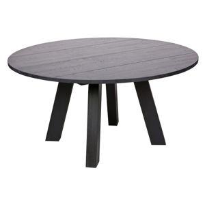 Černý jídelní stůl z dubového dřeva WOOOD Rhonda, Ø150cm