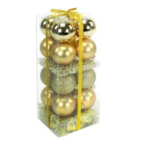 Set 16 vánočních ozdob a girlandy ve zlaté barvě Unimasa Brightness