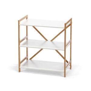 Bílý třípatrový regál s bambusovou konstrukcí loomi.design Lora