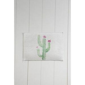 Bílo-zelená koupelnová předložka Tropica Cactus III, 60 x 40 cm