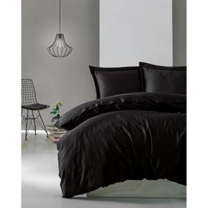 Černé povlečení z bavlněného saténu Cotton Box Elegant, 200 x 200 cm