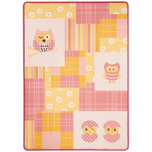 Dětský růžovo-žlutý koberec Zala Living Owl, 100 x 140 cm