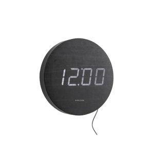 Černé nástěnné LED hodiny Karlsson Round