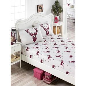 Set povlečení a 2 povlaků na polštáře s příměsí bavlny na dvoulůžko EnLora Home Geyik Claret Red, 160 x 200 cm