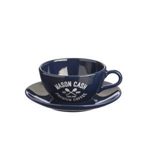 Tmavě modrý šálek s podšálkem Mason Cash Varsity Cappuccino