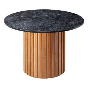 Černý žulový jídelní stůl s podnožím z dubového dřeva RGE Moon, ⌀ 105 cm