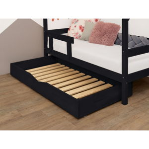 Černý dřevěný šuplík pod postel s roštem BenlemiBuddy, 90x140cm