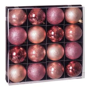 Sada 16 růžových vánočních ozdob Unimasa Copper
