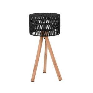 Černá stolní lampa zmangového dřeva LABEL51 Stripe