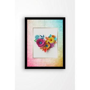 Nástěnný obraz na plátně v černém rámu Tablo Center Love Flowers, 29 x 24 cm