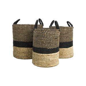 Sada 3 úložných košíků z vodního hyacintu HSM collection Natural Black