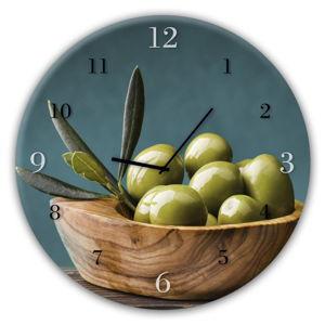 Nástěnné hodiny Styler Glassclock Olives, ⌀ 30 cm