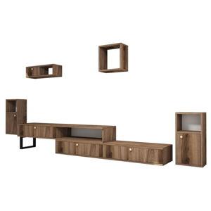 Set TV stolku a 4 nástěnných polic v dekoru ořechového dřeva Ratto Lux