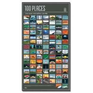 Plakát DOIY 100 Places You Must Visit, 54,5 x 98 cm