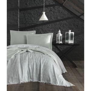 Set přehozu a 2 povlaků na polštáře EnLora Home Nish Water Green, 240 x 260 cm